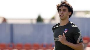 Joao Félix en un entrenamiento con el Atlético.