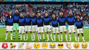 Once inicial de Italia ante Bélgica cantando el himno.