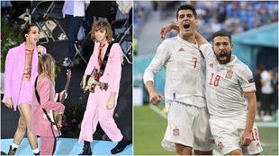 El grupo Måneskin actuando y Morata y Jordi Alba celebrado un gol.