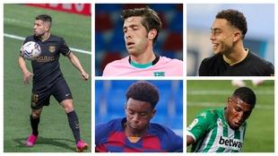 Jordi Alba, Sergi Roberto, Dest, Balde y Emerson.