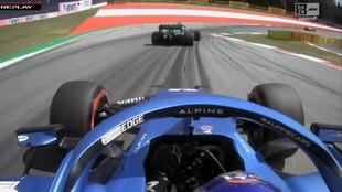 Alonso, bloqueado por Vettel en la Q2 del GP de Austria 2021.