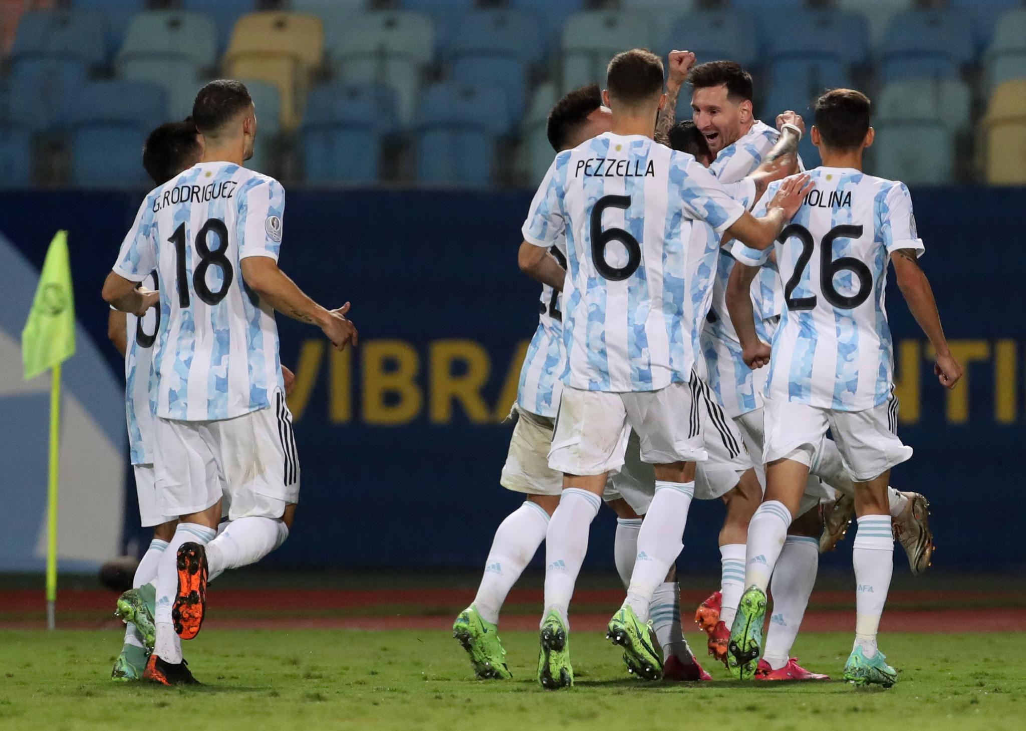El festejo de Argentina con el tercer gol