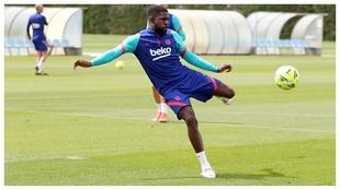 Umtiti, en un entrenamiento del Barcelona.
