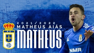 Matheus Aiás, nuevo delantero del Real Oviedo