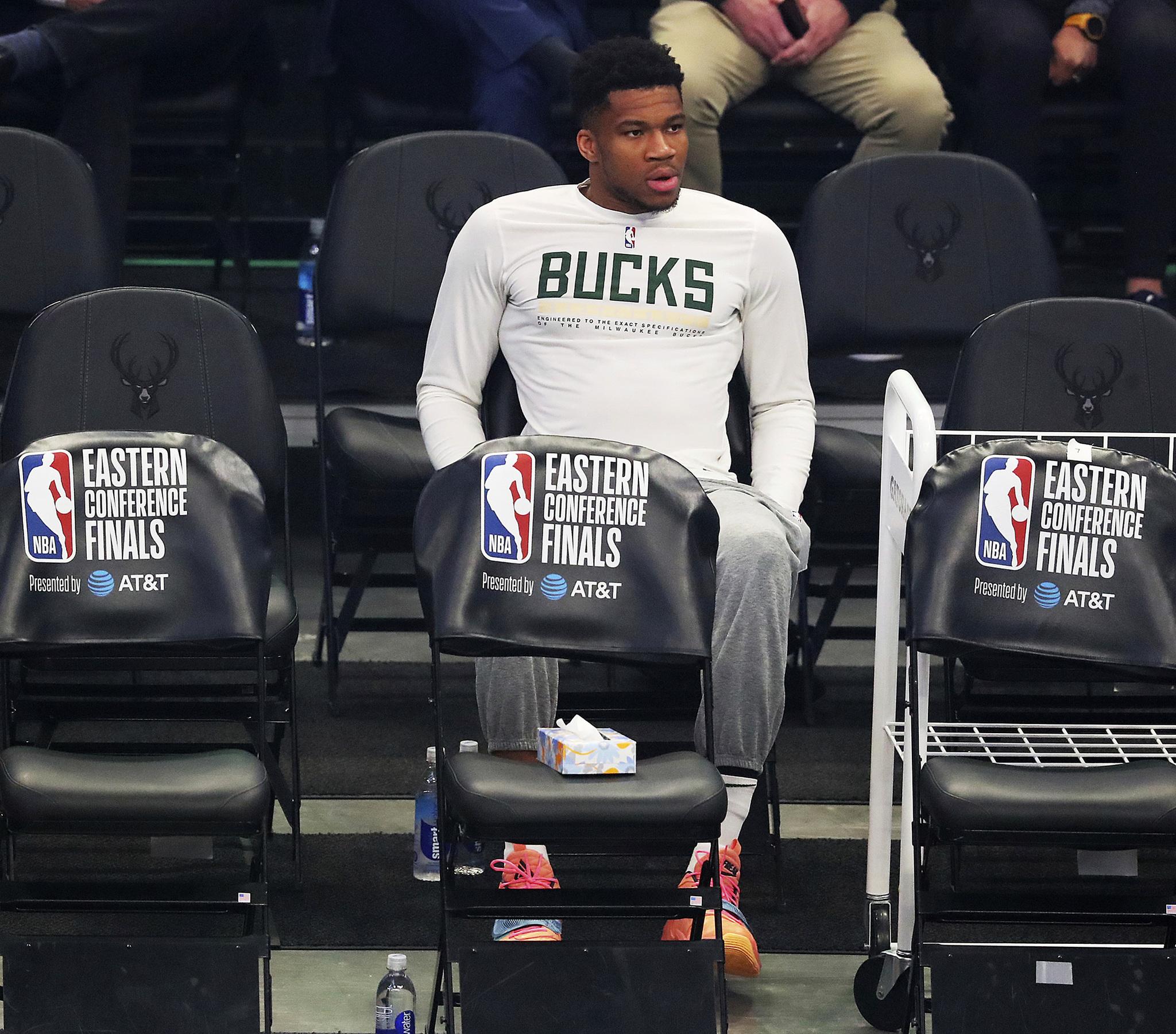 Injured Milwaukee Bucks forward Giannis Antetokounmpo