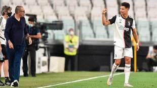 Maurizio Sarri y Cristiano Ronaldo