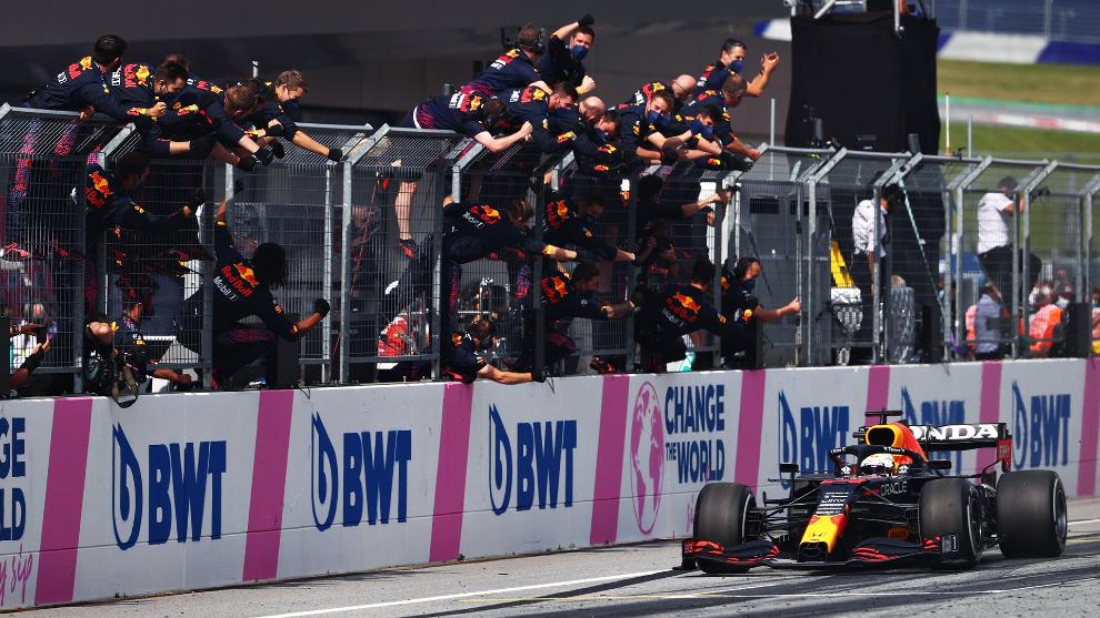Verstappen, en el momento de sellar su triunfo en la segunda cita austriaca.