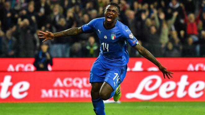 Moise Kean con la selección italiana.