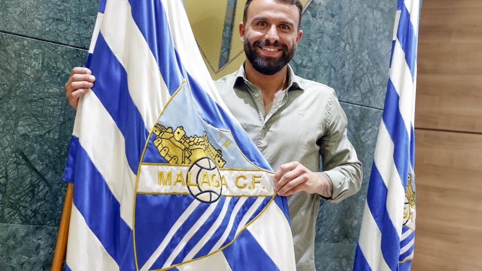 Javi Jiménez (25) durante su presentación con el Málaga CF.