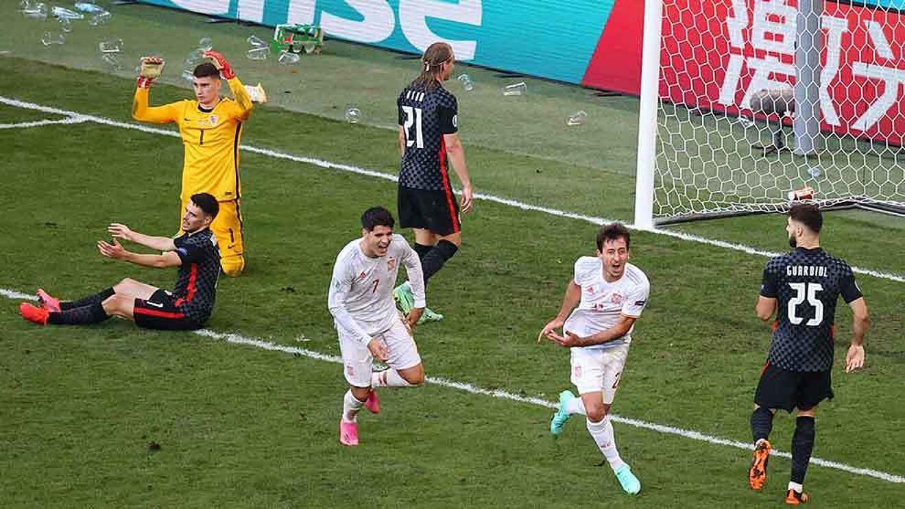 España contra Croacia en el partido de octavos de final.
