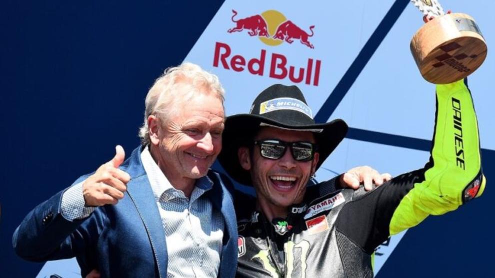 Schwantz y Rossi, en el podio del GP de las Américas 2019.