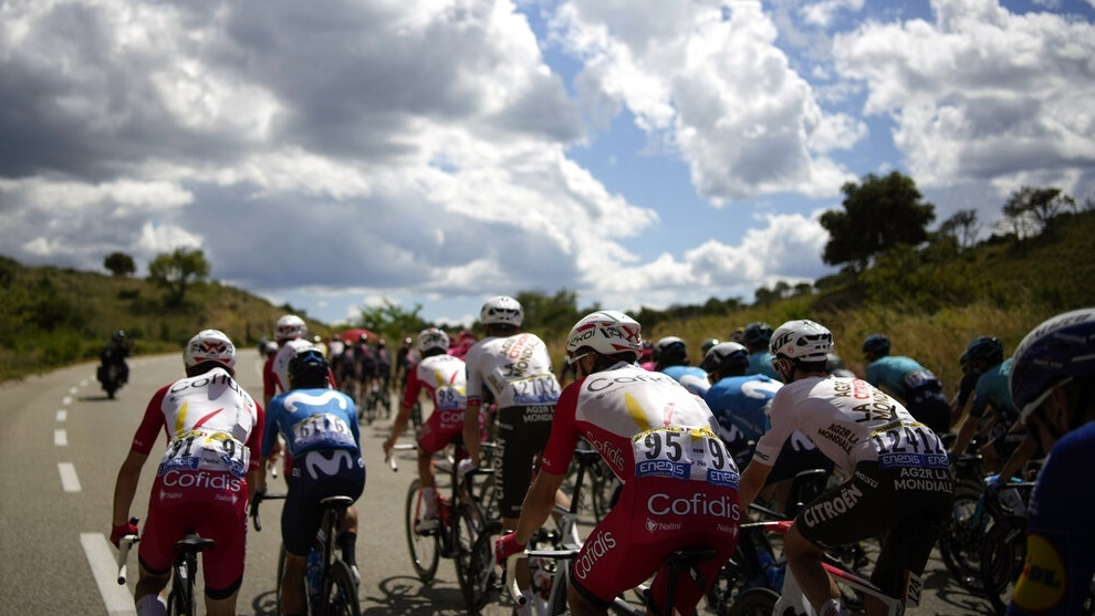 The pack rides during the twelfth stage of the Tour de France.