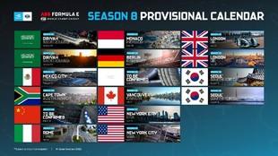 Fórmula E - calendario - temporada 8 - 16 carreras - monoplazas...