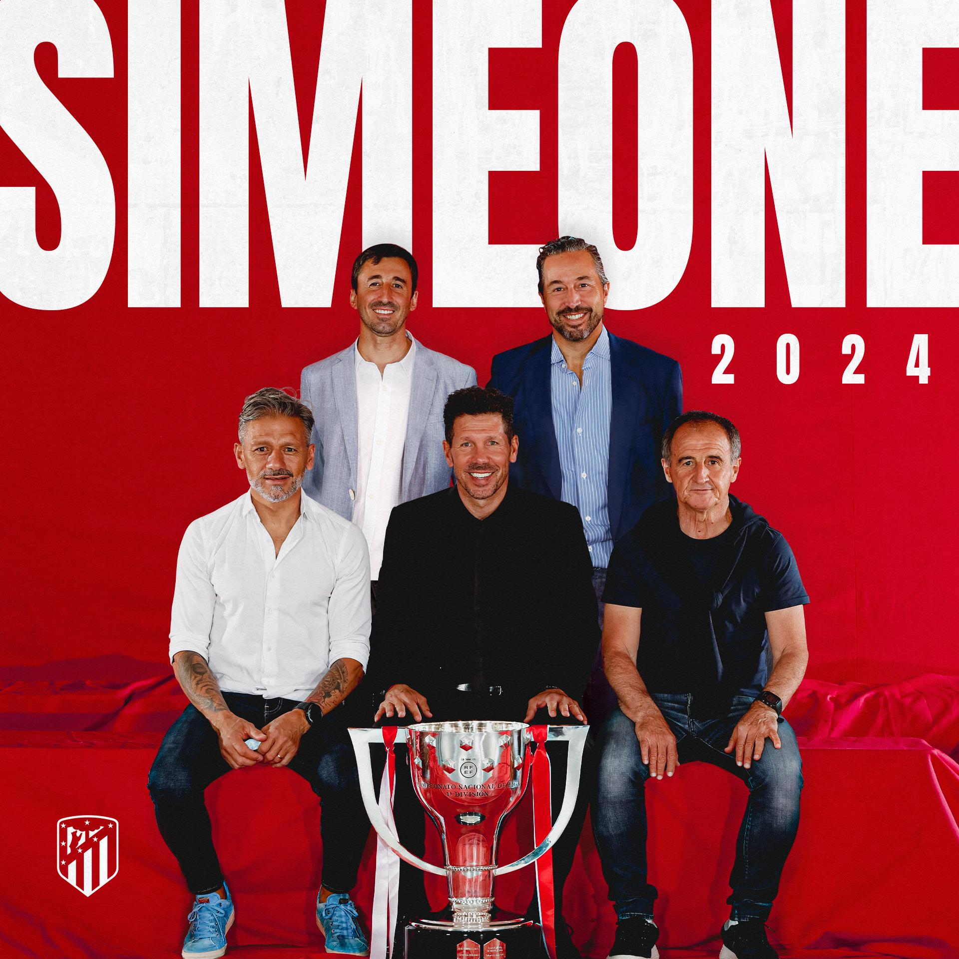 Simeone y todo su cuerpo técnico renuevan hasta 2024.