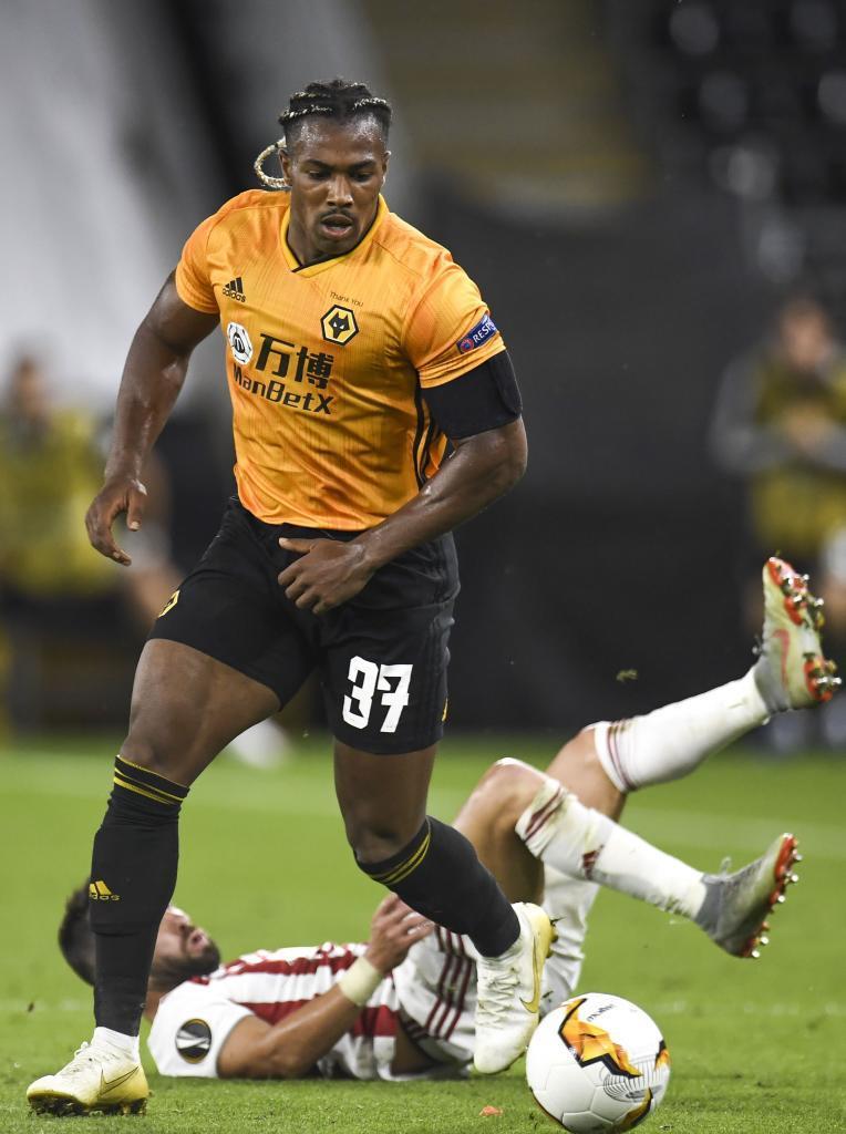 Adama Traoré durante un partido con los Wolverhampton Wanderers.