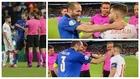 Un montaje con imágenes de Chiellini y Jordi Alba durante el sorteo...