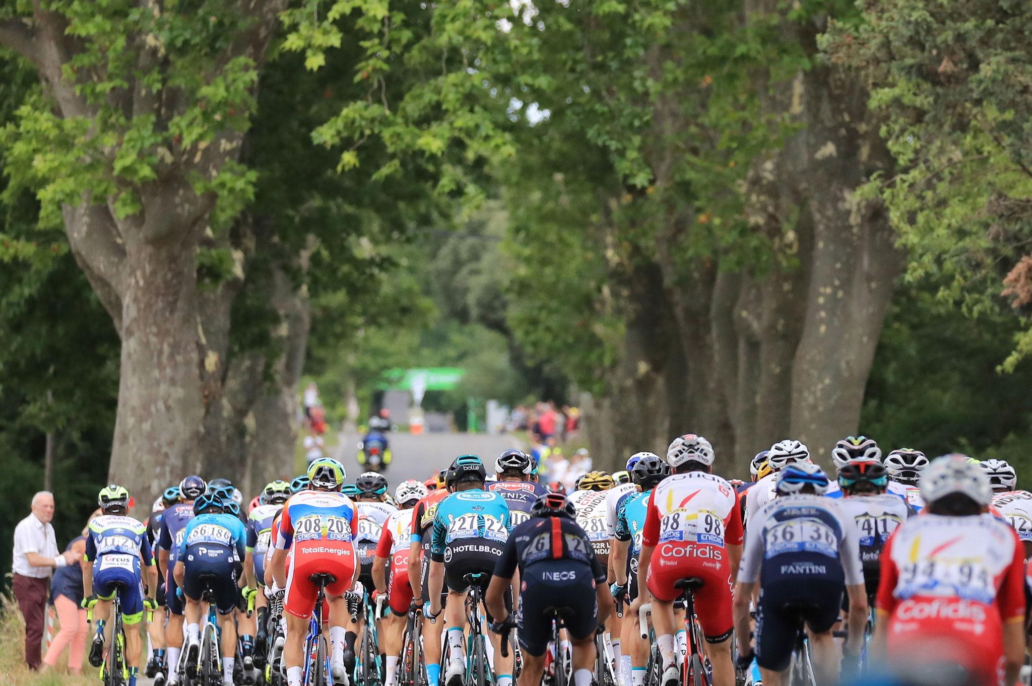 El pelotón rueda durante la 12ª etapa del Tour.