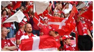 Aficionados daneses en Wembley.