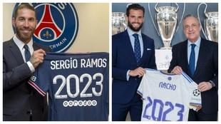 Ramos, en su presentación con el PSG, y Nacho, en su renovación con...