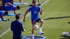 Saúl entrenando con el Atlético.