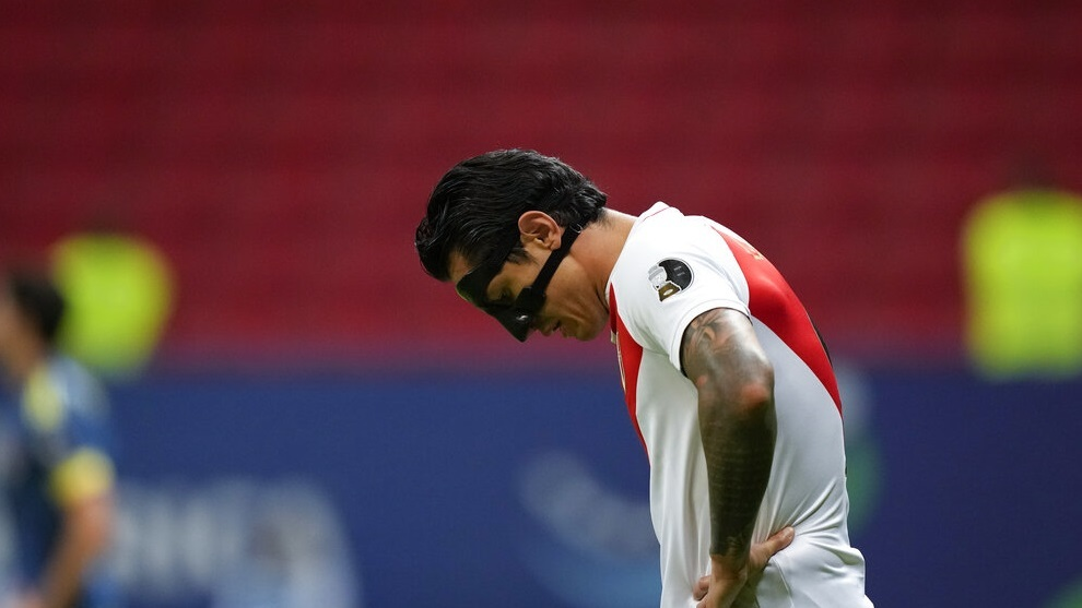 Gianluca Lapadula reacts during a Copa America third place soccer match.