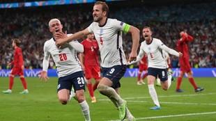 Harry Kane celebra el tanto de la victoria ante Dinamarca.