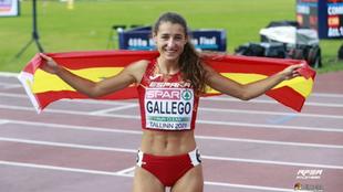 Sara Gallego, tras la final del 400 metros vallas en el Europeo sub...