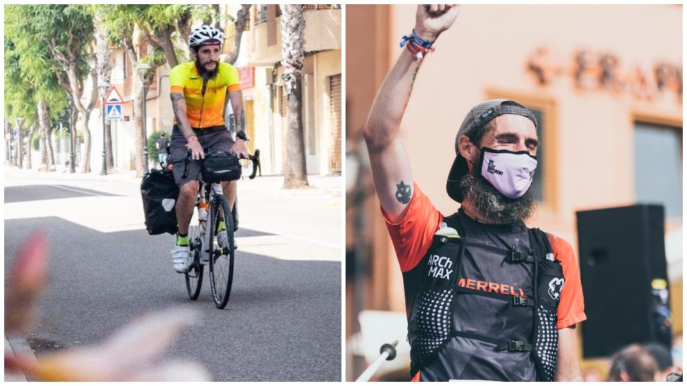 Juan Dual, con 'Mari Trini' a su llegada para la carrera, y en la meta tras acabar los 55 km de la Val d'Aran by UTMB.