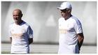 Pintus, junto a Ancelotti en un entrenamiento del Real Madrid.