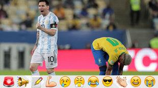 Leo Messi celebrates at the full time whistle