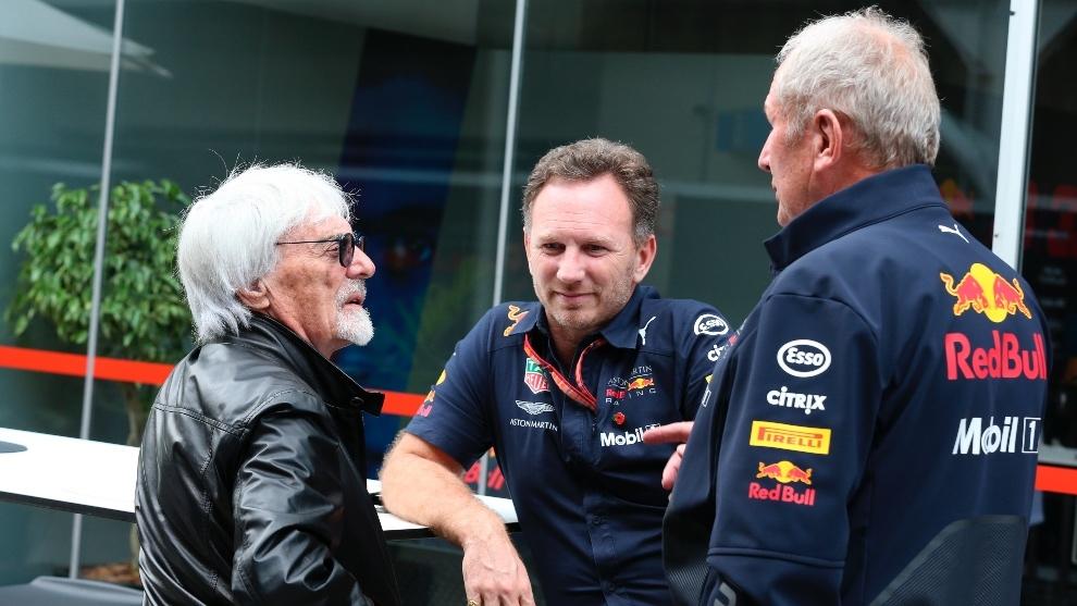 Bernie Ecclestone, Helmut Marko y Christian Horner en Brasil 2018