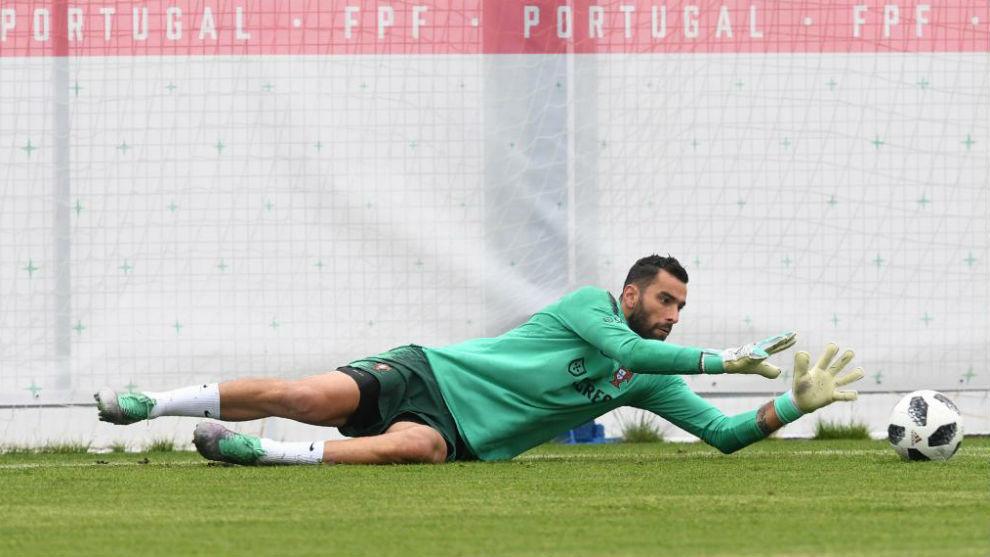 Rui Patricio en un entrenamiento con Portugal en el Mundial de Rusia en 2018.