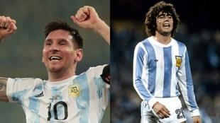 Messi y Tarantini, con 43 años de diferencias en ambos títulos.