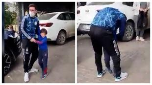 ... Y así fue el imperdible momento en el que vio a sus hijos como campeón con Argentina