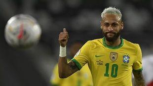Neymar playing for Brazil