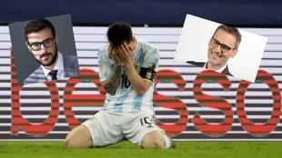 Messi y los dos periodistas señalados.