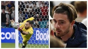 Un montaje con una imagen de Donnarumma parando un penalti y otra de...