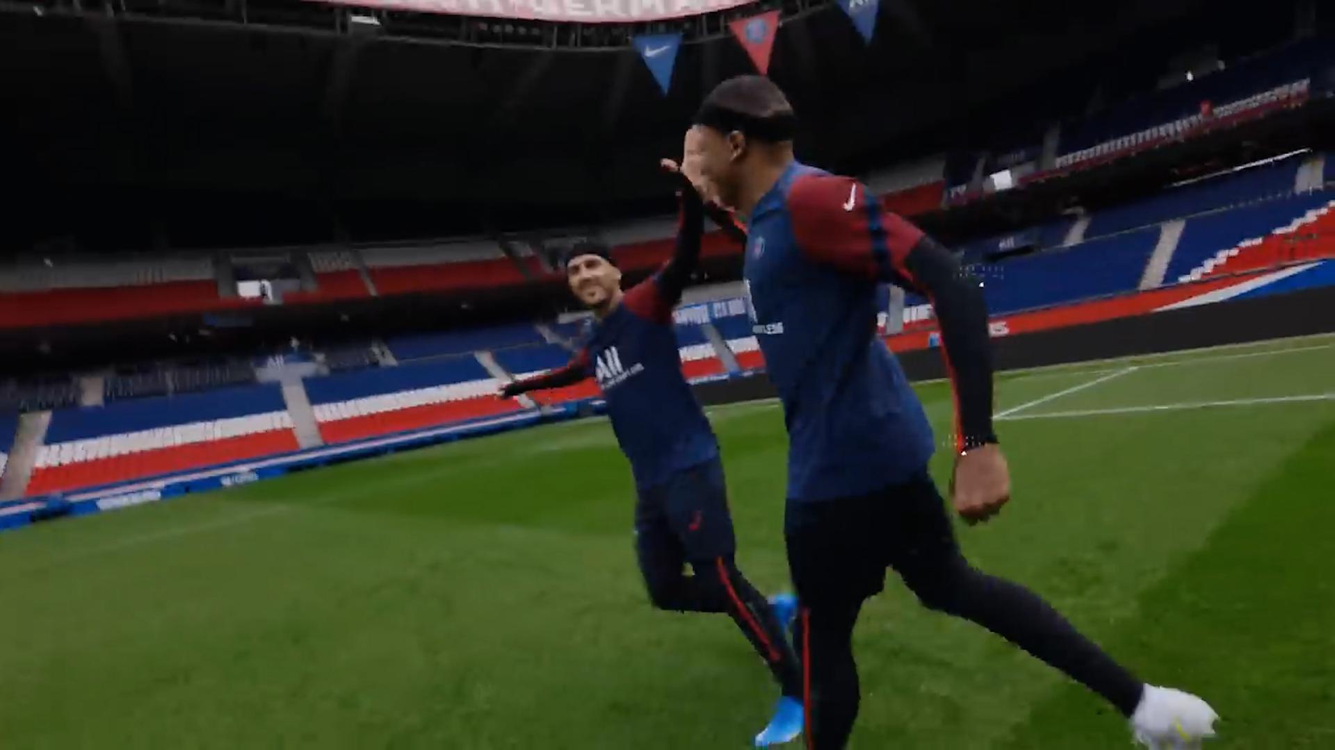 Mbappé durante la captura de imágenes para HyperMotion en FIFA22
