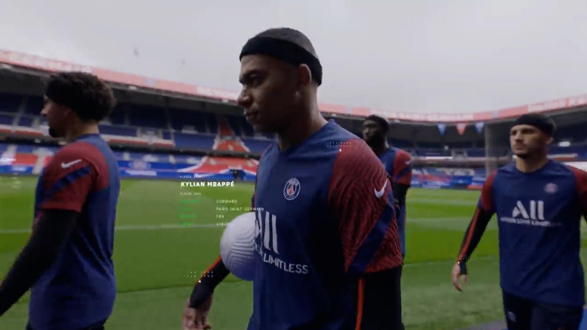 Mbappé durante la grabación de las pruebas para HyperMotion de FIFA22