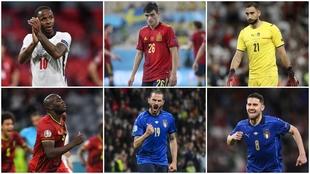 Sterling, Pedri, Donnarumma, Lukaku, Bonucci and Jorginho.