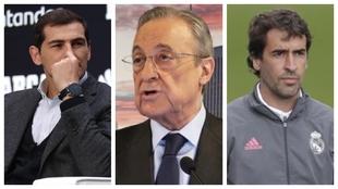 Un montaje con imágenes de Casillas, Florentino Pérez y Raúl.
