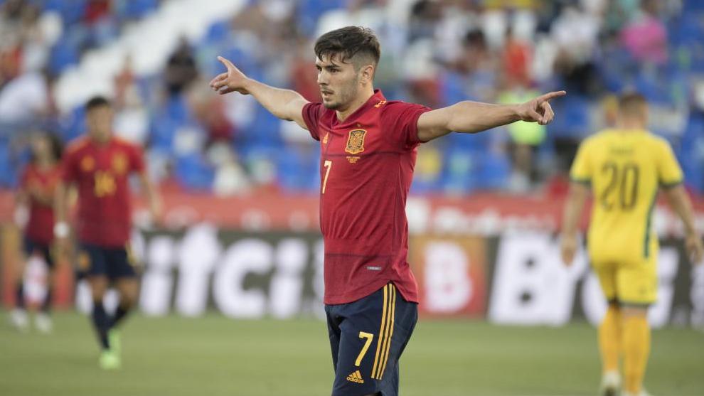 Brahim Díaz, durante un amistoso con la selección.
