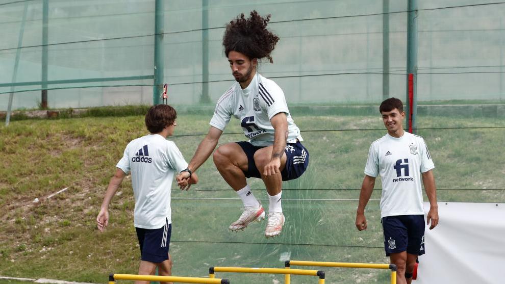 Marc Cucurella, durante un entrenamiento con la selección olímpica.