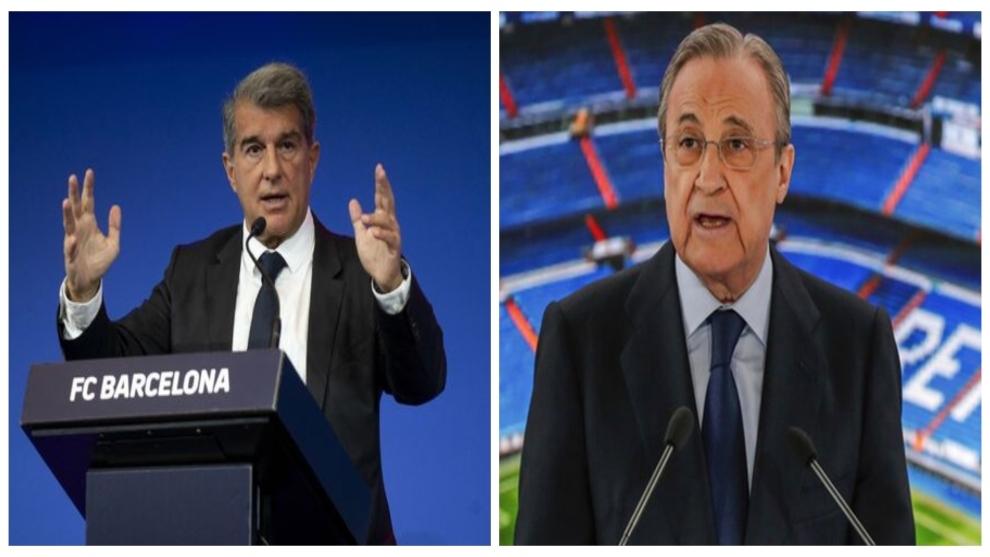 Laporta y Florentino Pérez en rueda de prensa