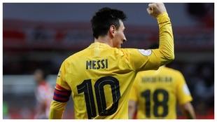 Messi celebra un gol en la final de Copa ante el Athletic.