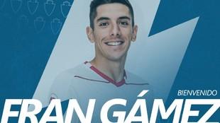 Fran Gámez, anunciado como jugador del Real Zaragoza.