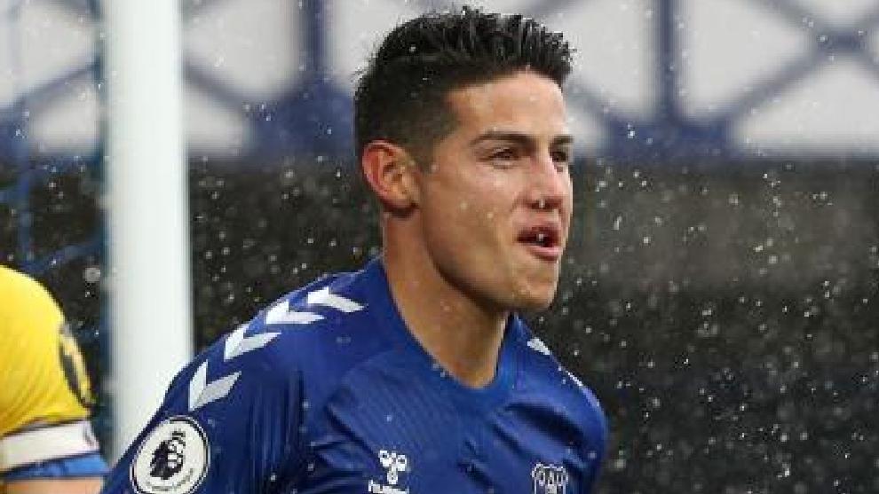 James Rodríguez, en un partido con el Everton.