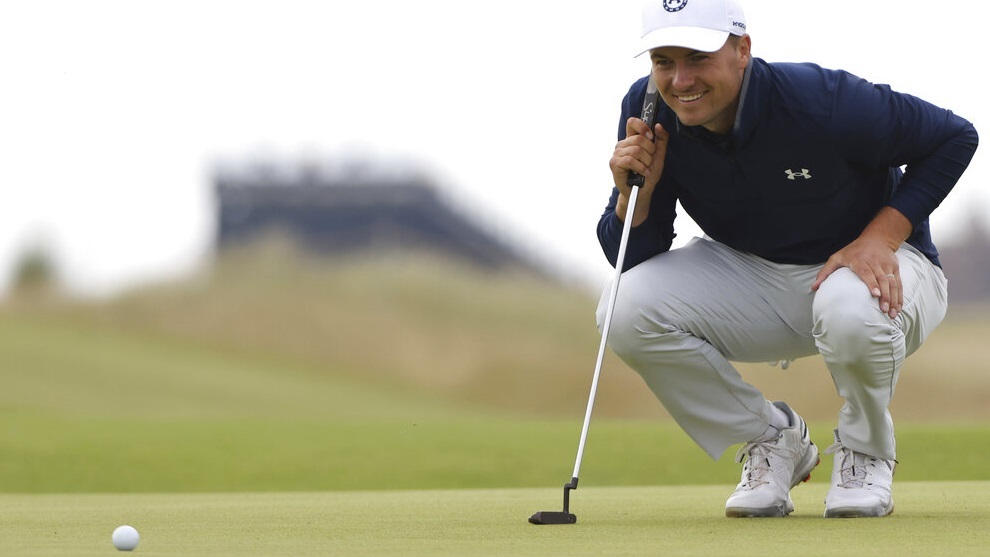 United States' Jordan Spieth putts on the 12th green during a practice round
