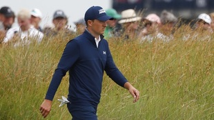 United States' Jordan Spieth walks to the 11th tee during the...