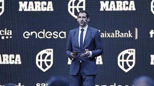 Jorge Garbajosa durante su discurso en la II Gala del Baloncesto...